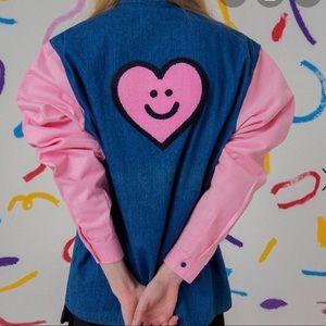 Lazy oaf denim tip with pink sleeves